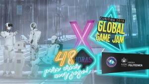 """Banner da Global Game Jam de 2019. Há alguns bonecos de teste ao fundo, utilizando alguns equipamentos eletrônicos; um texto """"48 horas para criar um jogo!"""" além de alguns elementos, em led, espalhados pela imagem."""