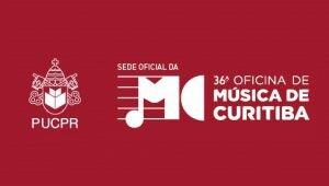 """Banner da 36º Oficina de Música de Curitiba. O fundo é vermelho, com a logo da PUCPR em branco e o texto """"36º Oficina de Música de Curitiba"""", também na cor branca."""