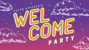 Banner da Welcome Party, evento que reune calouros e veteranos. Ele possui um degradê roxo ao fundo, alguns desenhos de nuvem em branco