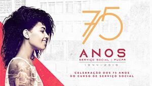 Banner de comemoração dos 75 anos do curso de Serviço Social.