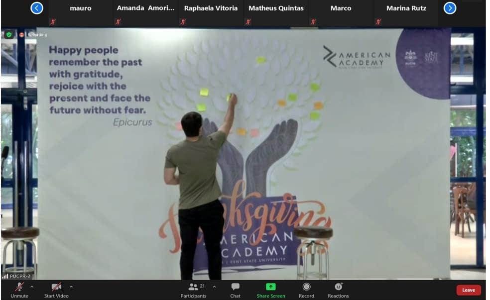 American Academy; Thanksgiving; Ação de Graças; Árvore da Gratidão; Rafael Bonacin